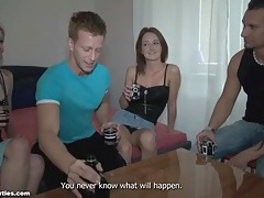 Teens doing shots and blowing their men lustily tubes
