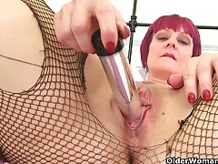 Masturbating in fishnet tights is such a turn on for penny tubes