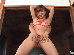 Tied tits girl turned on by a dildo in her cunt tubes