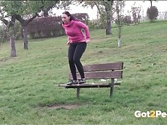 Big tits sporty girl pees on a park bench tubes