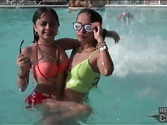 Splash in the pool and hit the beach with bikini babes tubes