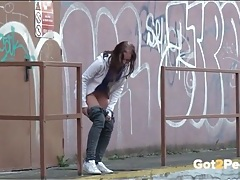 Amateur pulls down her pants to take a pee tubes