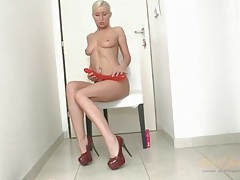 Long red dildo fucks a shaved milf pussy tubes