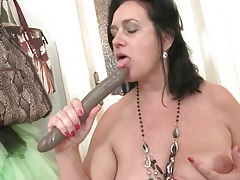 Milf sucks a toy to make it wet for her hot cunt tubes