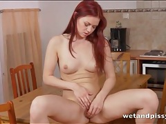 Firm body redhead pees and tastes her hot urine tubes