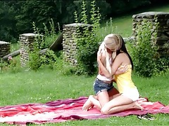 Lesbian sex picnic with two stunning beauties tubes