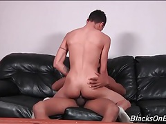 Bottom boy sits his tight ass on bbc tubes