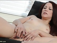 Sexy mom slips two fingers into her cunt tubes