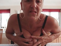 Busty granny teases her big tits and sexy ass tubes