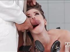 Tied to an exam chair and fucked in the mouth tubes