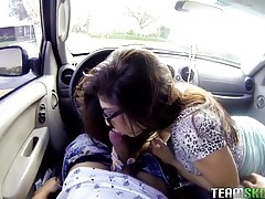 Skirt and glasses girl blows him in a public parking lot tubes