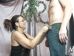 Sultry older lady sucks and swallows his dick tubes