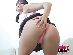 Sasha strips from a short skirt and rubs her cunt tubes