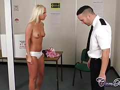 Blonde babe blows the tsa agent at the airport tubes