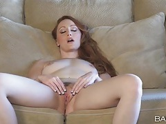 Gorgeous solo redhead crystal clark rubs her cunt tubes