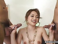 Glamorous asian beauty fucks two guys at once tubes