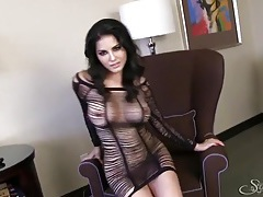 Sultry lingerie dress on a hottie in a hotel room tubes