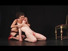 Submissive madison young roughly fingered by her mistress tubes