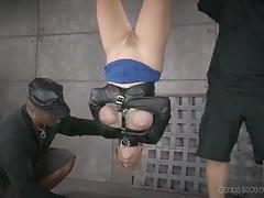 Blonde in a bondage suspension sucks cock tubes