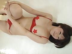 Red latex bikini looks hot on a japanese girl tubes