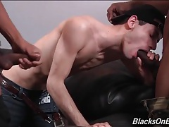 Tight white bitch boy fucked by two black dudes tubes