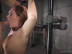 Sloppy gagging blowjob for a pretty girl in bondage tubes