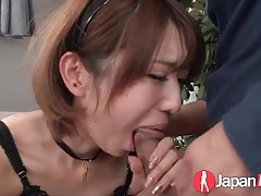 Japanese maid eaten out and sucking hard dick tubes
