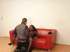 Hot casting couch sex with a black girl in lingerie tubes