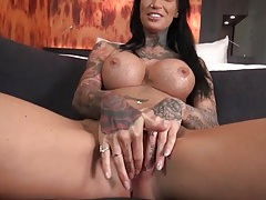 Pierced and inked babe with fake tits sucks a dick tubes