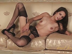 Classy milf in black lingerie is staggeringly beautiful tubes
