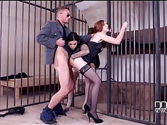 Lingerie babes visit the jail for a hardcore threesome tubes