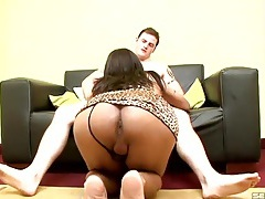 Tit fucked shemale slut sits on his dick tubes