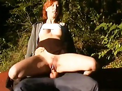 Chick fucked in the woods as her husband watches tubes