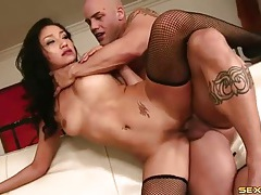 Hard sex with vicki chase dressed in fishnets tubes