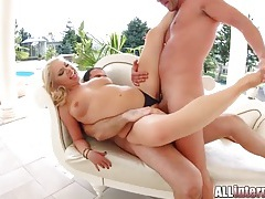 Two anal creampies totally destroy her asshole tubes