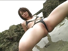 Skimpy thong swimsuit on hot asian kana kawashima tubes