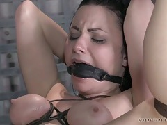Gagged and bound hottie takes cock in her ass tubes