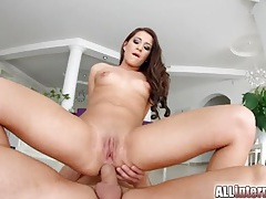 Perfect looking hottie gets a big anal creampie tubes
