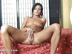 Shiny silver lingerie girl strips and rubs her cunt tubes
