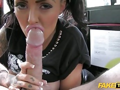 Slut in wet look leggings fucked in the back of a taxi tubes