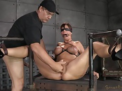 Sub slave in bondage gets filled with cum tubes