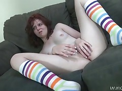 Milky white redhead nailed in her juicy pussy tubes