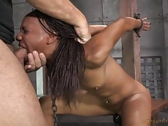 Slut chained in the dungeon worships a dick tubes