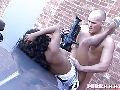 Interracial on the hood of the car with a hot black girl tubes