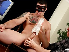 Hunk sits and enjoys a blowjob and toy play tubes