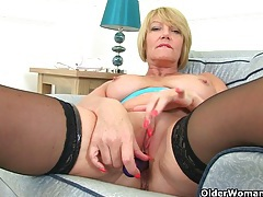 British milf raven strips off and teases her pussy tubes
