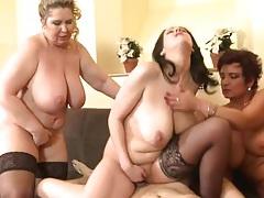 Old ladies take turns sitting on his big dick tubes