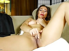 Bright red lipstick on a sexy masturbating mature tubes