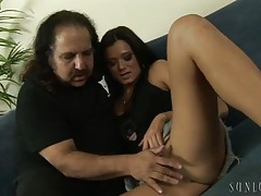 Ron jeremy watches a skinny cutie get naked for him tubes