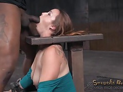 Guys take turns face fucking a bound girl tubes